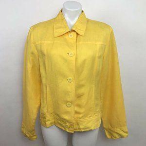 J.G. Hook Jacket Yellow Buttons Lined Linen Sz 12